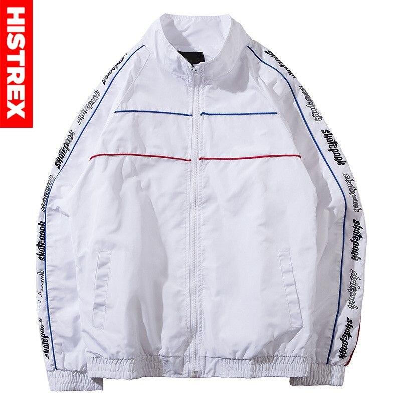 Coréen Harajuku veste Hip Hop hommes coupe-vent vestes manteau rayure 2020 automne décontracté fermeture éclair piste veste Streetwear noir blanc