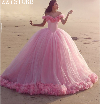 2019 Fashion Pink Ball Gown Quinceanera Dresses Off Shoulder Flowers Appliques Formal Party Gowns Court Train Tulle