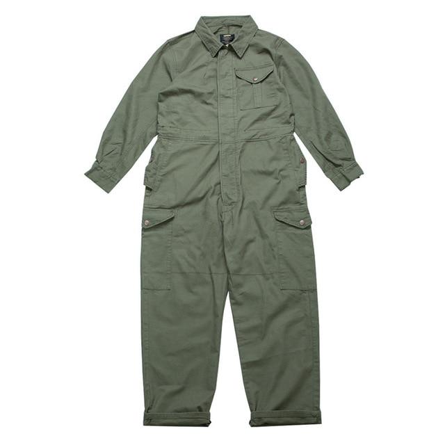 IEFB men's wear multi-pockets workwear jumpsuit black green single breasted loose long sleeve turn down collar trousers 9Y4105 5