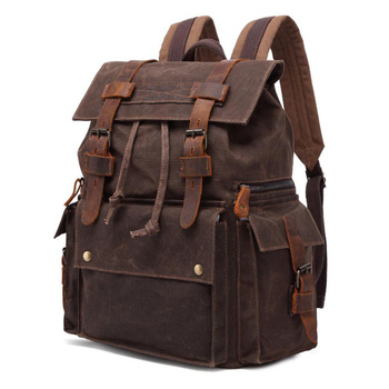 Retro Vintage Canvas Leather Backpacks Mens Laptop Daypacks Waterproof Large Capacity Rucksacks Large Waxed Travel Backpacks