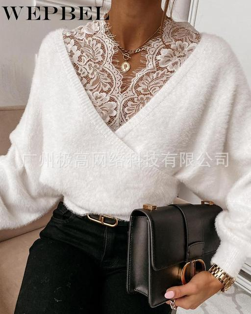 WEPBEL Women's Casual Long Sleeve Lace V-neck Patchwork Pullover Tops Autumn Winter Fashion Solid Color Plush Tops 1
