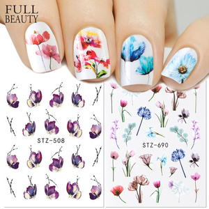 Image 1 - 1pcs Floral Slider Water Stickers Decal For Nail Art Transfer Tattoo Flamingo Leaf Gel Manicure Adhesive Decor Tip CHSTZ508 706