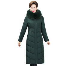 Jacket Women Plus-Size Overcoat Fur-Collar Hooded X-Long Female Thick Winter Cotton 5xl-Down