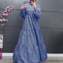 Swing longo maxi camisa vestido feminino muçulmano jilbab vestido islâmico 2021 arco xadrez vestido de verão casual kaftan manga longa em camadas robe