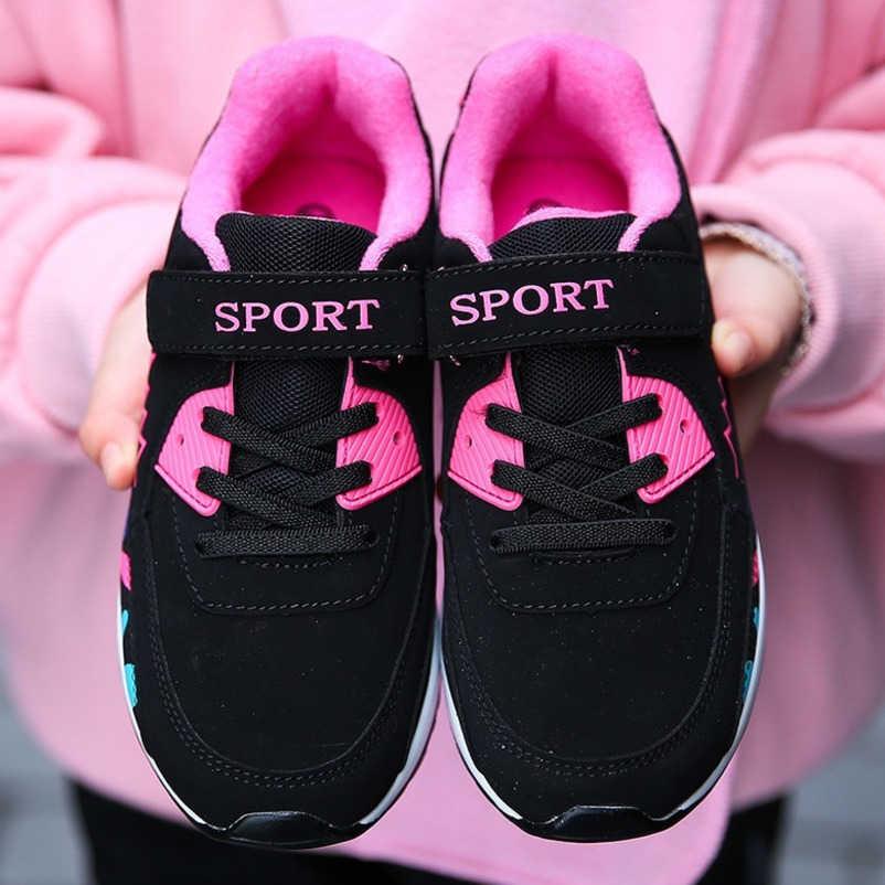 Sport Loopschoenen Kinderen Meisjes Sneakers Tiener Trainers Ademende Casual Outdoor Tennis Schoenen Meisje Zwart Roze Big Size 27- 38
