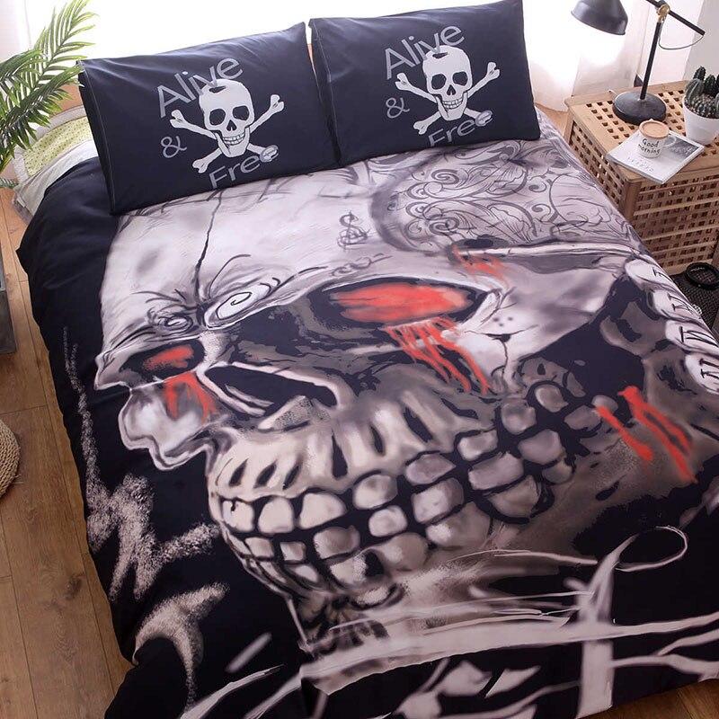 Fantasy Skull Duvet Cover Set Quilt Cover Set 3d Skull Bedding Set Twin Queen King Size Bedding Set Sugar Floral Bedding Sets Aliexpress