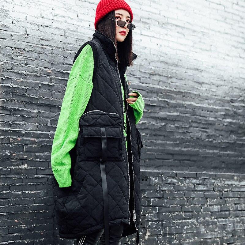Image 5 - Vefadisa Winter Flocking Sleeveless Vest Woman 2019 Zippers  Pockets Vest Coat Loose Cotton padded Vest Black Brown QYF1262Vests