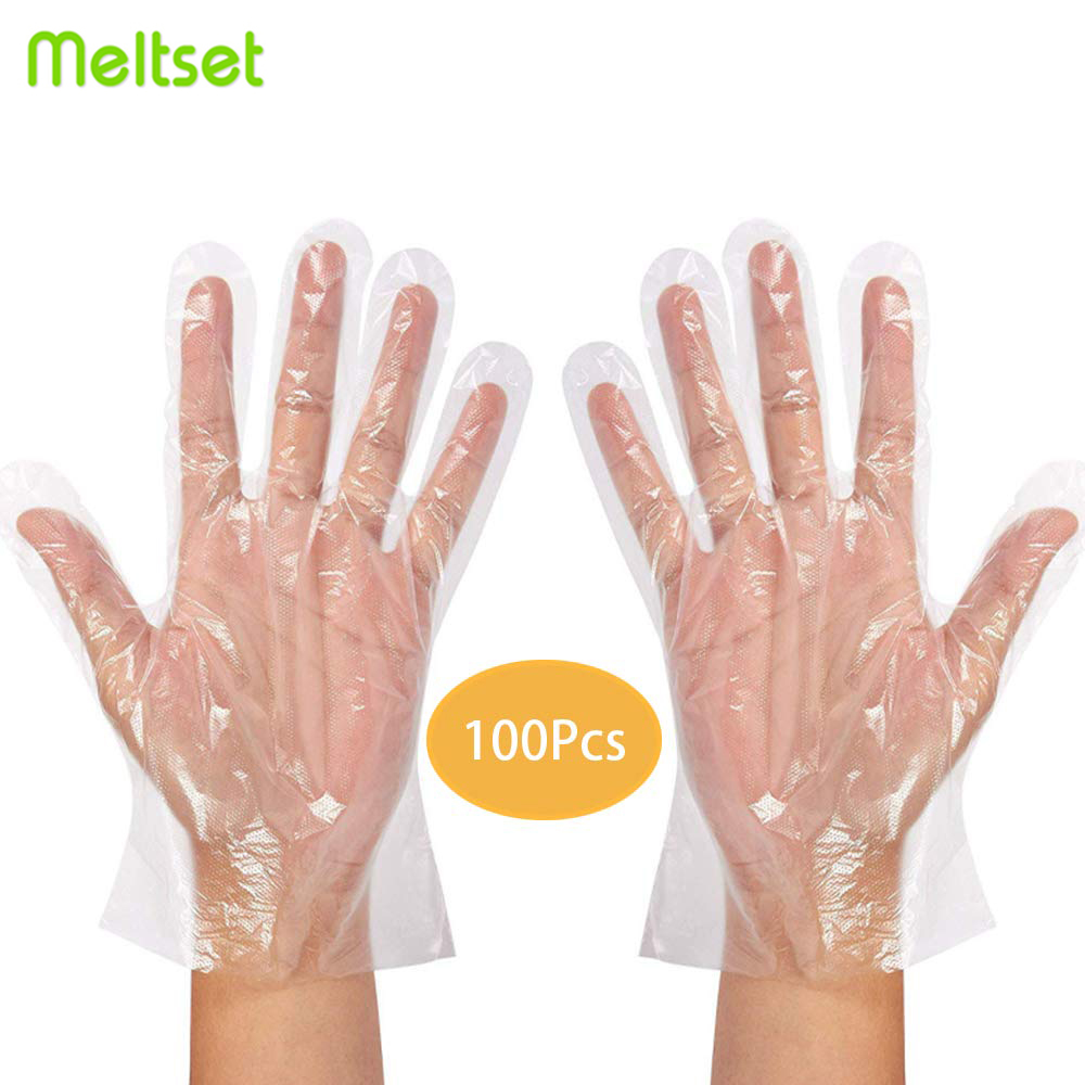 Transparent Plastic Disposable Gloves One off BBQ Cooking Gloves For Household Bathroom Sanitary Gloves for Cooking Cleaning