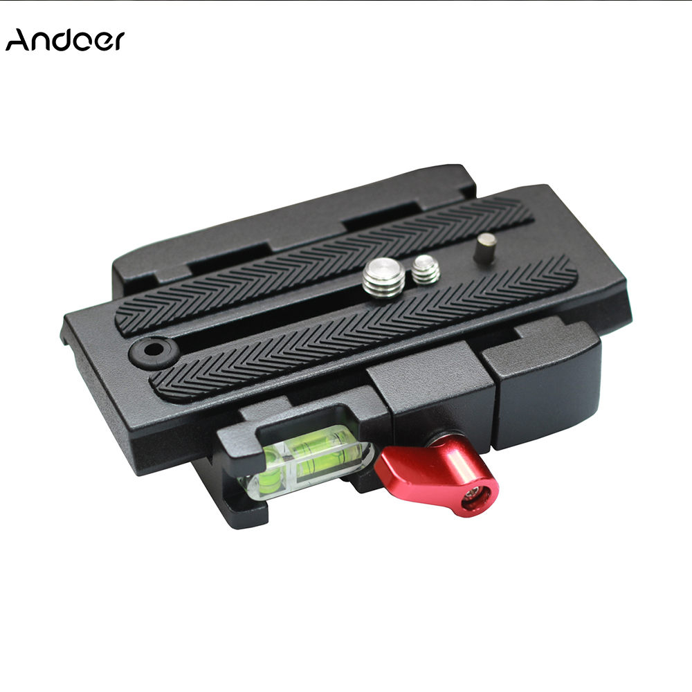 Andoer DSLR Camera Quick Release Clamp Adapter with Quick Release Plate P200 Compatible for Manfrotto 500AH 701HDV 503HDV Q5