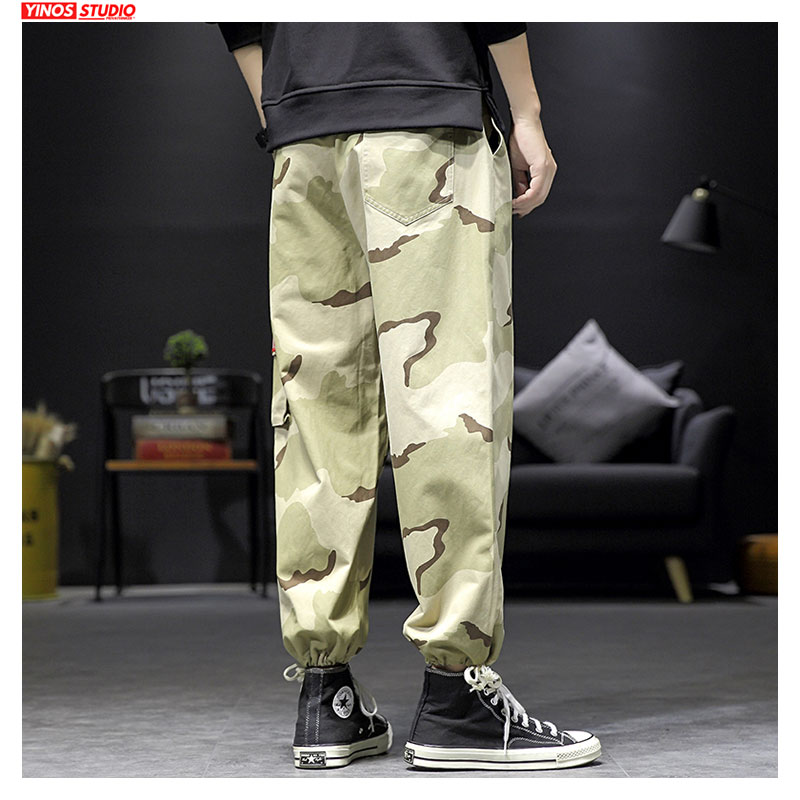 Dropshipping Men Streetwear Causal Camouflage Pants Mens Japanese Male Leggings Toursers Loose Harem Joggers Pants Autumn