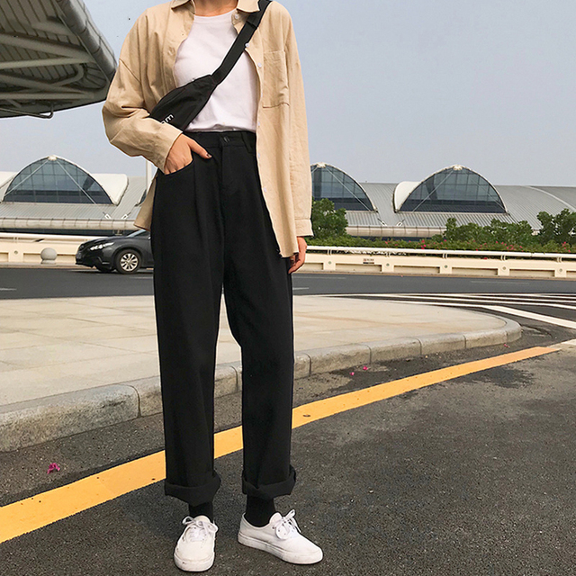 Jeans Women Loose High Waist Leisure Full-length Wide Leg Jean All-match Korean Style Simple Womens Trendy Harajuku Daily Chic 6