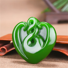 Heart-shaped Natural Green Jade Pendant Necklace Carved Chinese Charm Jewellery Amulet Fashion Accessories for Men Women Gifts natural green jade pendant dragon phoenix 925 silver necklace chinese carved fashion charm jewelry amulet for men women gifts