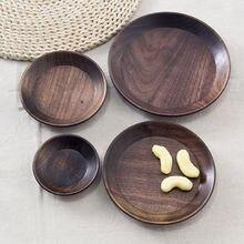 Деревянная тарелка японский черный орех цельный деревянный круглый
