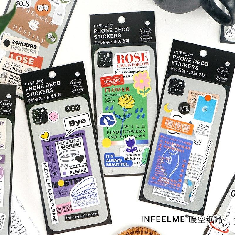 Mohamm 2Pcs Mobile Phone Summon Series Stickers Ins Decoration Scrapbooking Paper Creative School Su