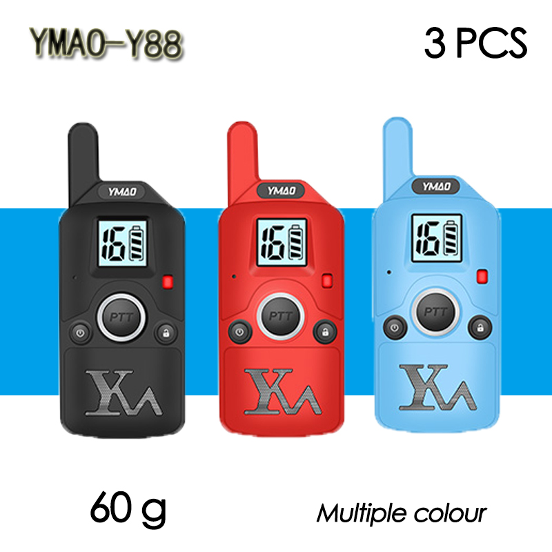 (3 PCS)YMAO Y88 MINI Walkie Talkie Portable UHF Handheld Ham 99CH Ultra-small Radio Communicator HF Transceiver With Earpiece