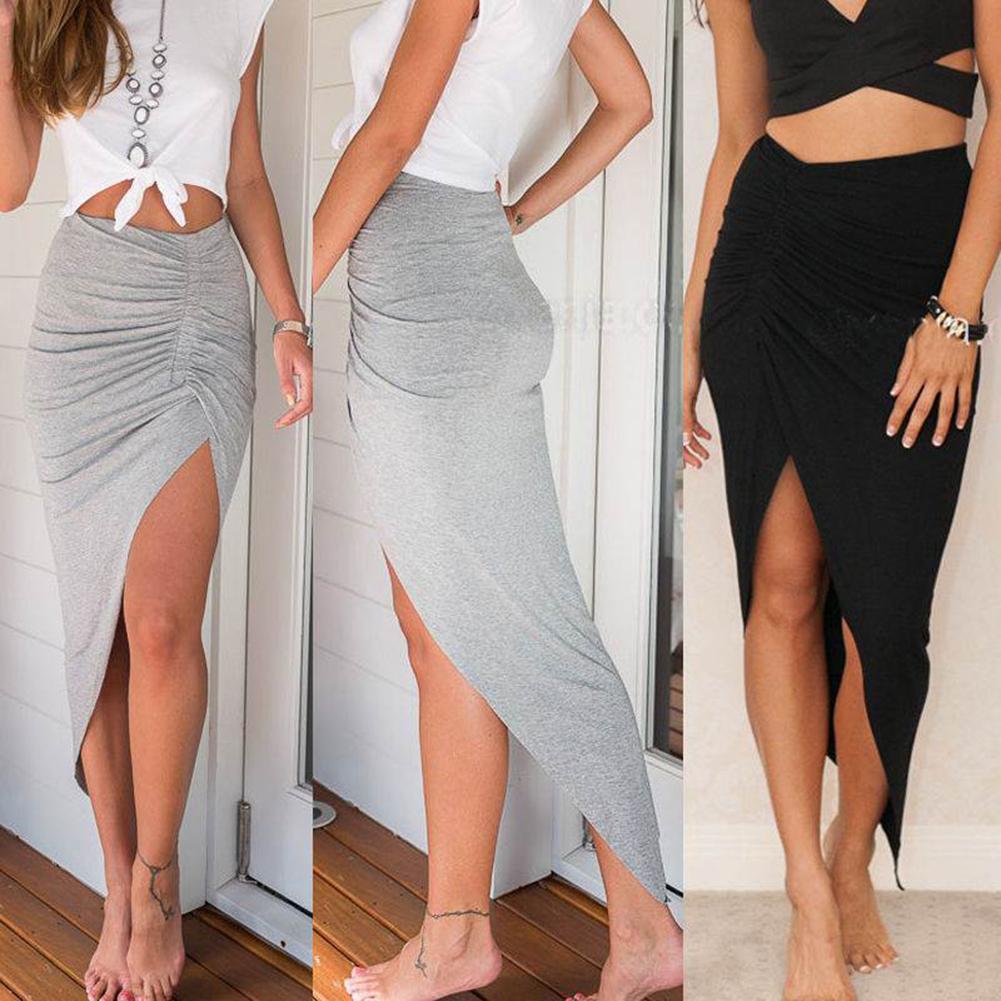 Women Sexy Elastic Waistband Side Slit Irregular Knitted Bodycon Long Skirt Elastic Waistband Side Irregular Knitted Long Skirt