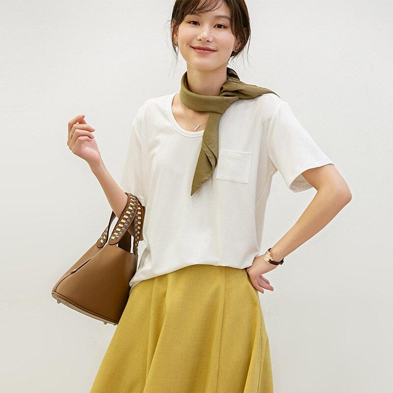 Женская футболка с круглым вырезом и карманами, весна-лето 2020