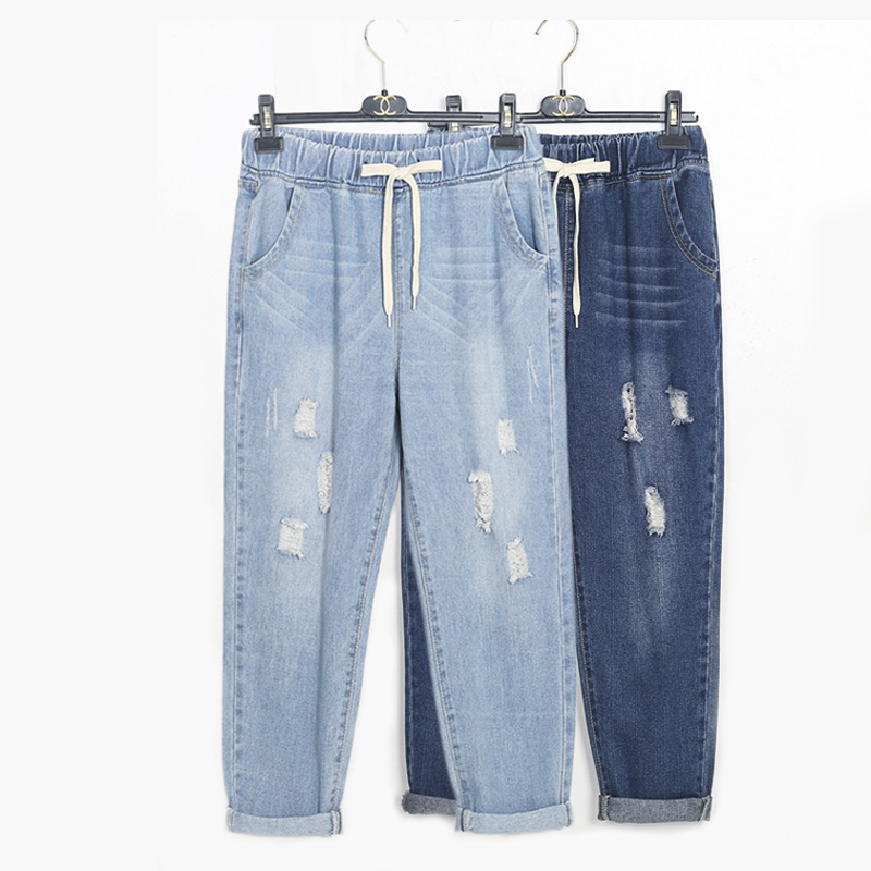 2020 Womens Boyfriend Ripped Mom Jeans Pants For Women Korean Style Plus Size Distressed Loose Harem Denim Jeans Woman XXXXXL