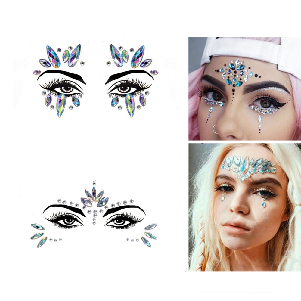 Eyebrow Eye Face Adhesive Acrylic Resin Drill Diamond Face Stick Sticker Handpicked Face Jewelry Forehead Stage Decor Sticker