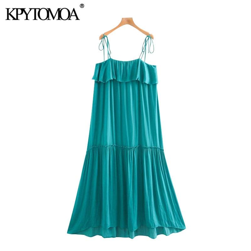 KPYTOMOA Women 2020 Chic Fashion Ruffled Pleated Midi Dress Vintage Backless Adjustable Tie Straps Female Dresses Vestidos Mujer