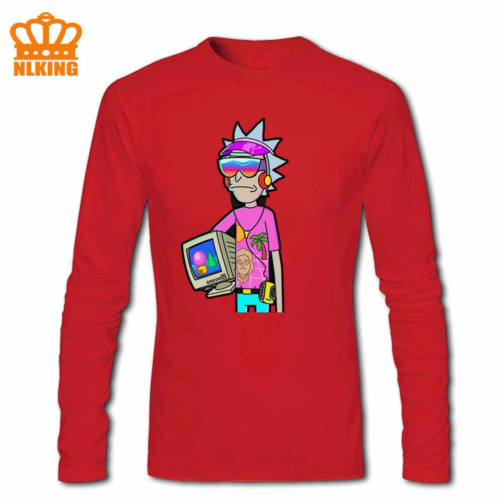綿 100% Tシャツ新ファッションフリー船レジャークルーネック男性長袖 Vaporwave リック & Morty 黒プレミアム suprem tシャツ