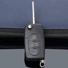 3 düğmeler uzaktan katlanır flip anahtar kılıfı kılıf kapak için Audi A2 A3 A4 A6 A8 TT CR2032 araba yedek Fob durumda boş bıçak