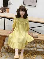 Sumcico/новейшее блестящее желтое платье в стиле Лолиты с оборками для девочек, 2020SS платье во французском стиле для малышей возраст От 2 до 15 лет