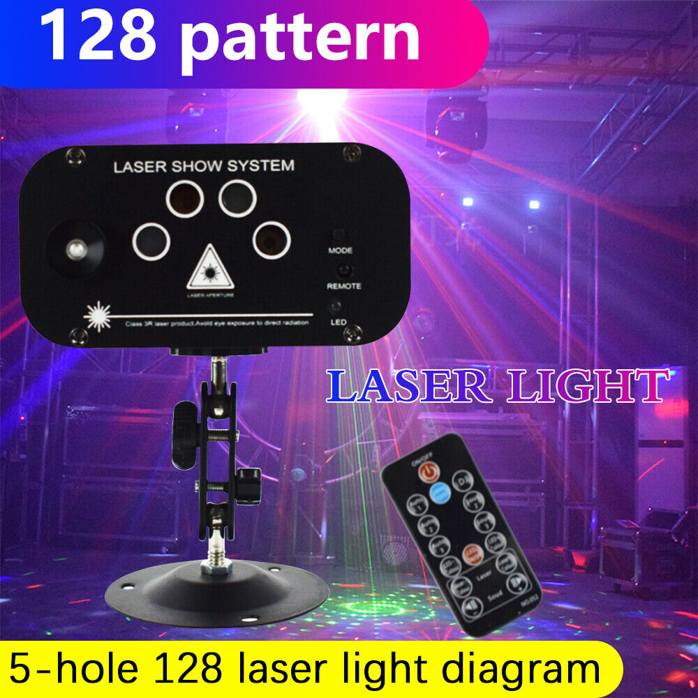 WAKYME 128 Patterns RGB Whirlwind Laser Projection Lamp Stage Lighting LED Disco Light For Home Wedding Party KTV DJ Dance Floor