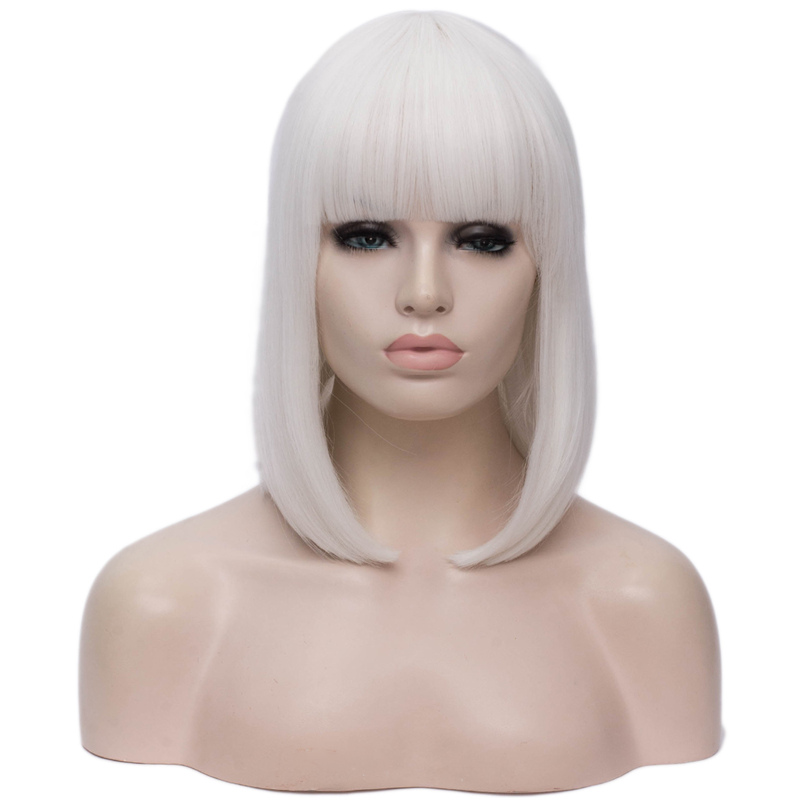 Image 5 - MSIWIGS Synthetic 14 inch Straight Short Bob Wigs Bangs Blue Golden Red Black White Purple Green Brown Cosplay Wig Female-in Synthetic None-Lace  Wigs from Hair Extensions & Wigs