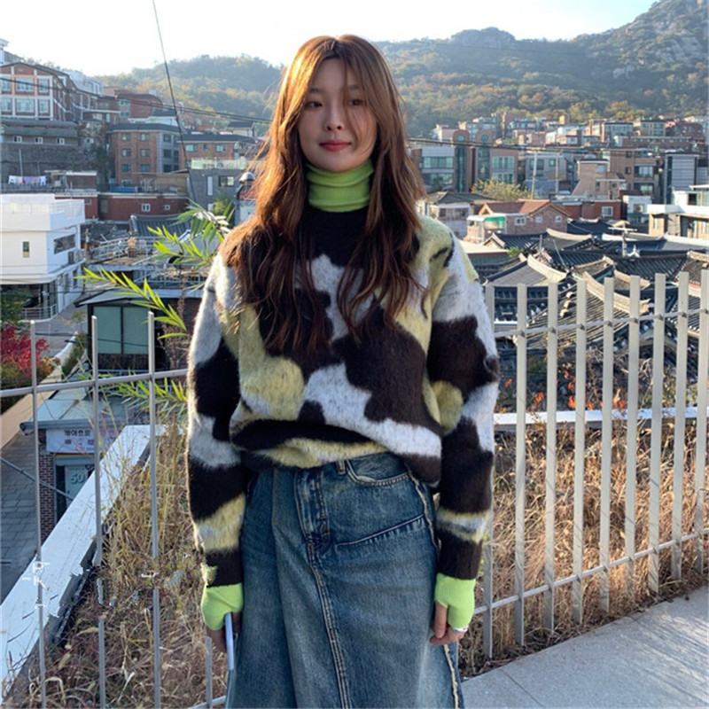Купить камуфляжный шикарный винтажный мохеровый универсальный свитер