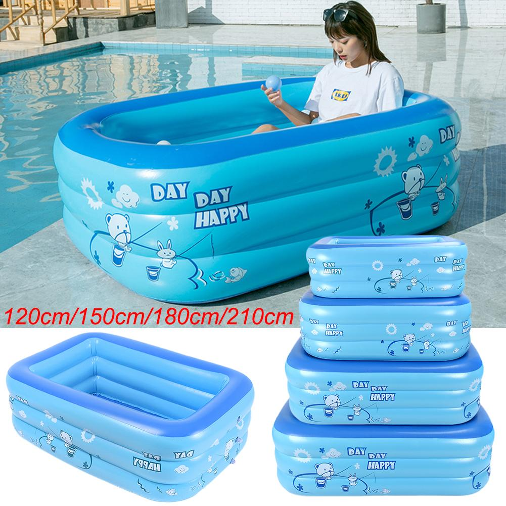 1.2m/1.5m/ 1.8m/2.1m Inflatable Swimming Pool Adults Kids Pool Bathing Tub Outdoor Indoor Swimming Pool