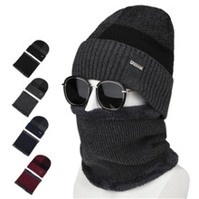 2019 Men Plush Winter Skullies Beanies Rings Sets Ventilate Elastic Plaid Thick Neck Ear Warm Soft Hat Scarf Accessories-CGC-W7