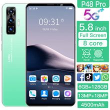 2021 new Full Screen Android P48Pro 5.8inch Smartphone Ultra-thin 8+256G 4500mAh Fast Charge 4G5G Dual SIM LTE Network Cellphone