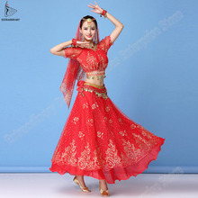 بوليوود اللباس زي النساء مجموعة الهندي الرقص الشرقي ساري الرقص الزي الأداء الملابس الشيفون أعلى + حزام + تنورة