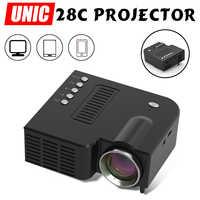 UNIC 28+ LED Mini Projector Portable 1080p Full HD Projector Home Theater Entertainment Projectors USB/SD/AV Input