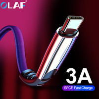 OLAF USB Type C Cable For Samsung S10 Huawei P30 Pro Fast Charge Type-C Mobile Phone Charging Wire USB C Cable for Samsung S9 S8