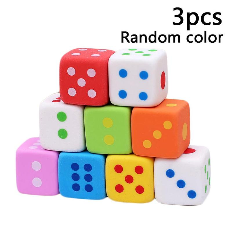 3pcs/set Novelty Dice Shaped Erasers For Kids 3d Cancy Color Rubber Eraser Toys School Office Supplies