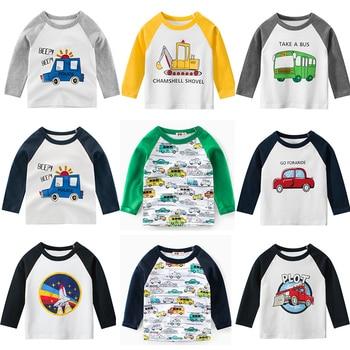 цена на Long Sleeve Children T-Shirts Cotton Boys T Shirt Kids T Shirt Autumn Kids Girls Tops 2-7 Years Children Clothes Cartoon Car