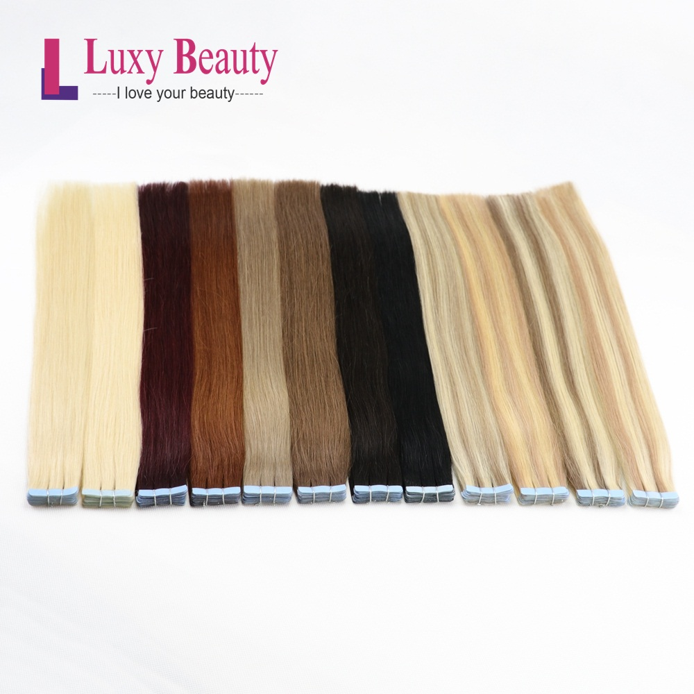 LuxyBeauty Tape In Remy Hair Extensions Human Hair 12