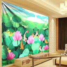 Boho Hippie Tapestry Flowers Wall Hanging Elegant Lotus Plant Leaves Painting 3D Psychedelic Mandala Tapestry Wall Cloth Green plant leaves in the vase printed tassel wall hanging painting