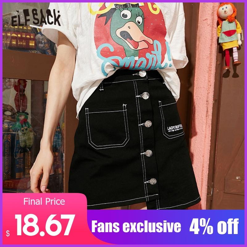 ELFSACK Black Solid Single Button Casual Women Irregular Mini Skirts 2020 Spring Red Letter Embroidery Sexy Ladies Denim Skirt