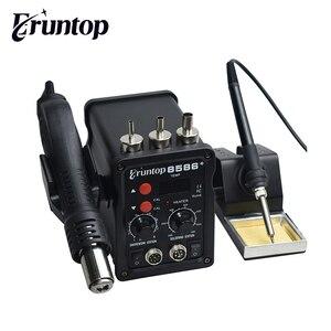 Image 1 - 2 ב 1 Eruntop 8586 + תצוגה דיגיטלית חשמלי הלחמה איירונס + אוויר חם אקדח טוב יותר SMD עיבוד חוזר תחנת משודרג 8586 מתכת Stand