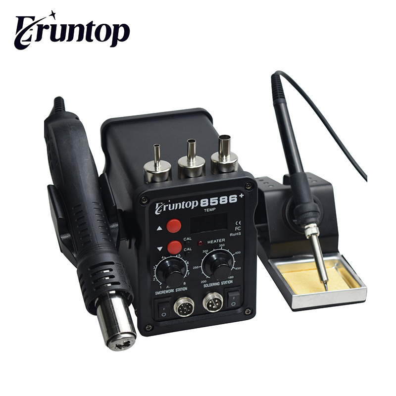 2 In 1 Eruntop 8586+ Digital Display  Electric Soldering Irons +Hot Air Gun Better SMD Rework Station Upgraded 8586 Metal Stand