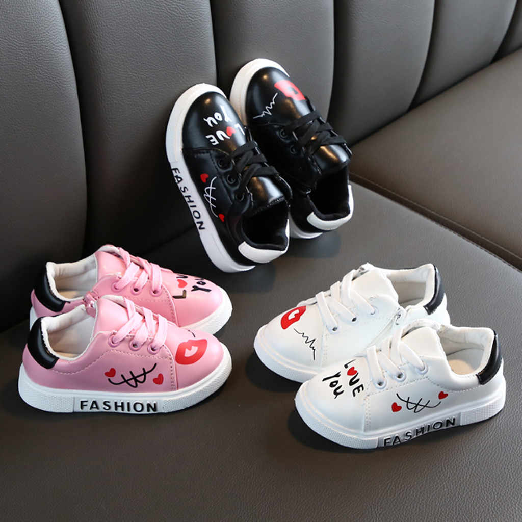New Children Flat Shoes Toddler Kids Boys Girls Sneakers Fashion Sport Shoes Cute Casual Letters Shoes Soft Sole Shoes For 1-11Y