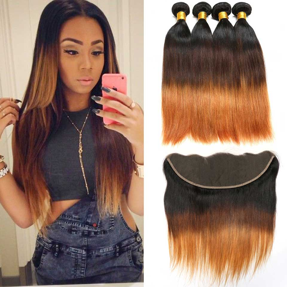 Ombre Peruvian Straight Hair Bundles With Frontal Closure Human Hair Bundles With Frontal Non-Remy 3 Bundles With Frontal