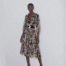 Новинка, модное женское платье с принтом, Ранняя осень, модное винтажное повседневное свободное пляжное платье