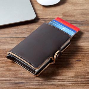 Wallet Aluminum Purse Credit-Card-Holder Id-Card Back-Pocket Rfid Blocking Crazy Automatic