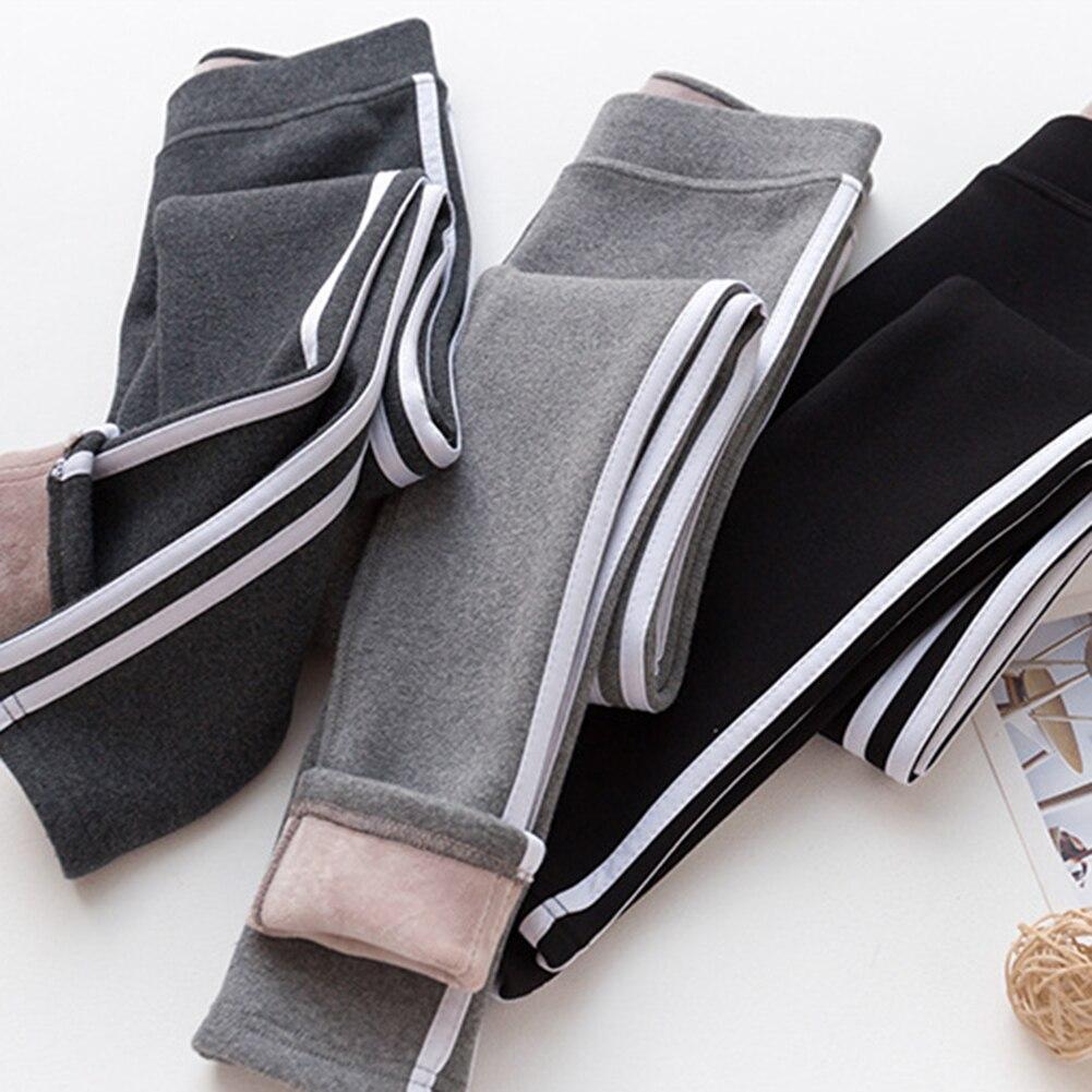 Women Warm Fitness Workout Leggings Striped Side Winter Velvet Leggings Ladies Casual Pants Warm Pants Winter Leggings HX1118