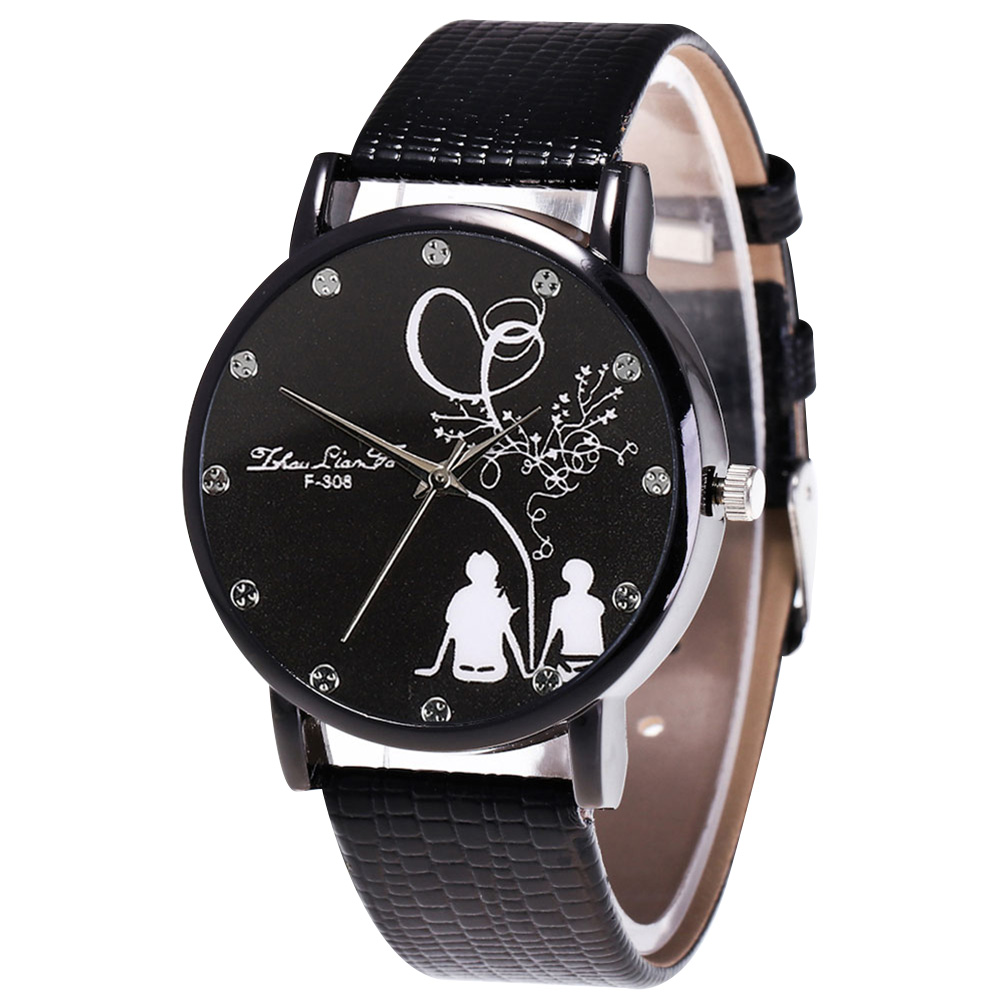 Fashion Quartz Watch Mens Women Couple Electronic Watch Love Tree With PU Wrist Strap LXH