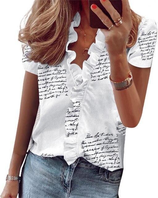 Hirigin 2020 Fashion Summer Ladies Temperament Flouncing Short Sleeve Blouse Sweet Printing Solid Top Casual Shirt Clothing 6
